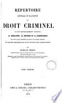 Répertoire général et raisonné du droit criminel