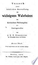 Versuch einer fa  lichen Darstellung der wichtigsten Wahrheiten der kritischen Philosophie f  r Uneingeweihte