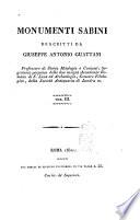 Monumenti sabini descritti da Giuseppe Antonio Guattani