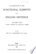 The Functional Elements of an English Sentence