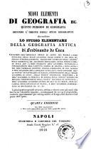 Nuovi elementi di geografia ec  quinto periodo di geografia secondo l ordine degli studi geografici di Ferdinando De Luca