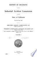 Report of Decisions of the Industrial Accident Commission of the State of California