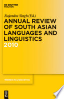 Annual Review Of South Asian Languages And Linguistics 2010