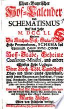 Chur-bayrischer Hof-Calender und Schematismus