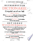 A Copious English and Netherduytch Dictionarie