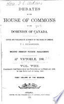 Debates of the House of Commons of the Dominion of Canada