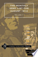 The Monthly Army List for August 1914   Vol 1