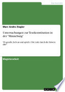 """Untersuchungen zur Textkonstitution in der """"Minneburg"""""""