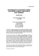 Determinants of Non-employment and Unemployment Durations in East Germany