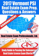 2017 Vermont PSI Real Estate Exam Prep Questions  Answers   Explanations