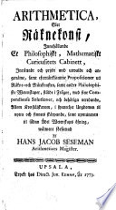 Arithmetica  eller  R  knekonst  inneh  llande et philosophiskt  mathematiskt curieusitets cabinett