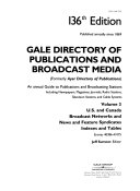 Gale Directory of Publications and Broadcast Media  U S  and Canada Broadcast networks and News and Features Syndicates  indexes and tables