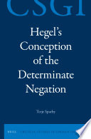 Hegel s Conception of the Determinate Negation