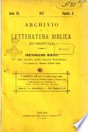 Archivio di letteratura biblica ed orientale contribuzioni mensili allo studio della Sacra Scrittura e dei principali tra i monumenti dell antico oriente