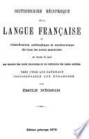 Dictionnaire r  ciproque de la languefran  aise