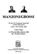 Manzoni Grossi  A 150 anni dalla edizione 1840 dei  Promessi sposi