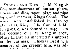 [1886 Reference to J.M. King & Company]
