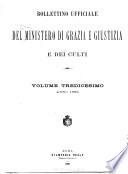 Bollettino ufficiale del Ministero di Grazia  Giustizia e dei Culti