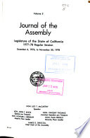 Journal of the Assembly  Legislature of the State of California Book PDF