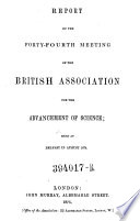 Forty Fourth Meeting Held At Belfast In August 1874