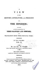 History Literature And Religion Of The Hindoos