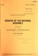 Debates Of The National Assembly Hansard  book