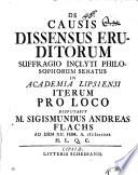 De causis dissensus eruditorum