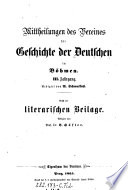 Mittheilungen des Vereins f  r Geschichte der Deutschen in B  hmen
