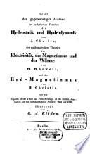 Ueber den gegenwärtigen Zustand der analytischen Theorien der Hydrostatik und Hydrodynamik