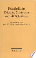 Festschrift für Ekkehard Schumann zum 70. Geburtstag