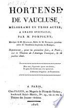 Hortense de Vaucluse, melodrame en 3 actes