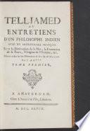 Telliamed ou entretiens d'un philosophe indien avec un missionnaire françois sur la diminution de la mer, la formation de la terre, l'origine de l'homme, &c