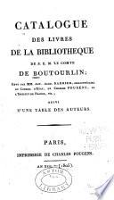 Catalogue des livres de la biblioth  que de S E M  le comte de Boutourlin