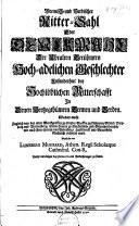 Bremisch- und Verdischer Ritter-Sahl, oder Denckmahl der Uhralten