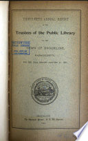 Annual Report of the Trustees of the Public Library of the Town of Brookline Book PDF