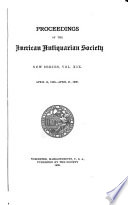 Proceedings of the American Antiquarian Society
