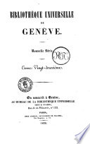 Bibliotheque universelle de Geneve supplement a la Biblioteque universelle de Geneve