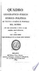 Quadro geografico fisico  politico storico di tutti i paesi e popoli del mondo di A  A