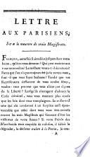 Lettre aux Parisiens sur le meurtre de trois magistrats