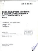Design  Development and Testing of Calspan Chrysler Research Safety Vehicle