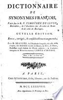 Dictionnaire de synonymes fran  ois  par feu le R  P  Timoth  e de Livoy  Barnabite