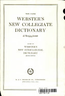 Webster s New Collegiate Dictionary