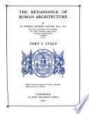The Renaissance of Roman Architecture