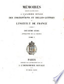 M  moires pr  sent  s par divers savants    l Acad  mie des inscriptions et belles lettres de l Institut de France