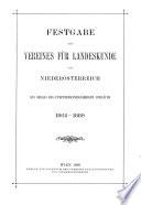 Blätter des Vereines für Landeskunde von Niederösterreich