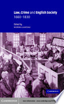 Law  Crime and English Society  1660   1830