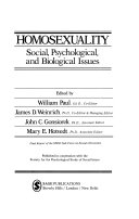 Homosexuality  social  psychological  and biological issues