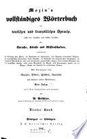 Mozin's vollständiges Wörterbuch der deutschen und französischen Sprache, nach den neuesten und besten Quellen über Sprache, Künste und Wissenschaften ... Vierter Band
