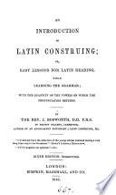 An introduction to Latin construing