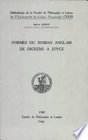 Formes Du Roman Anglais de Dickens a Joyce